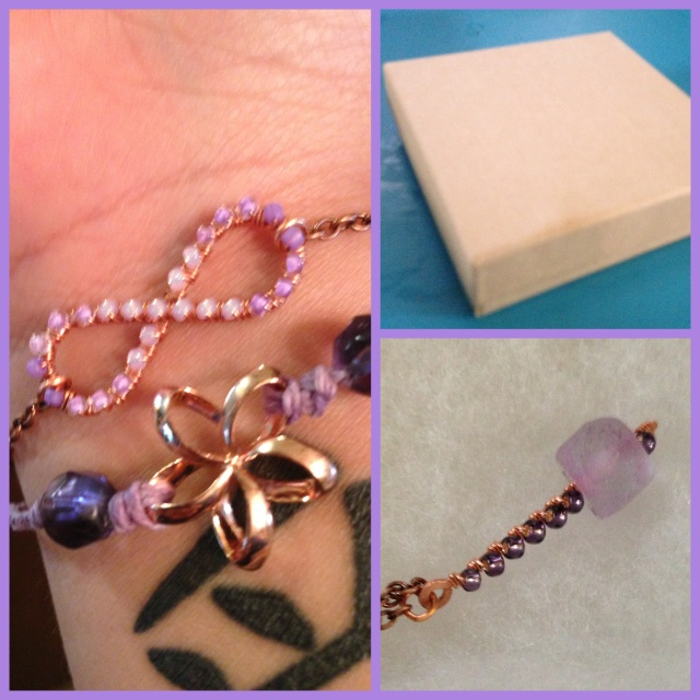My ombre infinity and plumeria bracelets and the Thor inspired Mew Mew necklace!